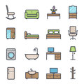 Furniture icon bold stroke with color on white background vector illustration Royalty Free Stock Photos