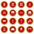 Furniture icon red circle set