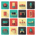 Furniture icon set icons of and accessories for an interior Stock Photos