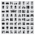 Furniture icon vector black house set on gray Stock Photo