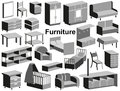 Furniture icons image with upholstered on a white background Royalty Free Stock Images