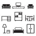 Furniture icons this image is a vector illustration and can be scaled to any size without loss of resolution Royalty Free Stock Photo