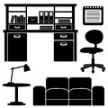 Furniture icons living room office set isolated objects Royalty Free Stock Photography
