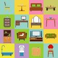 Furniture icons set flat design vector illustration