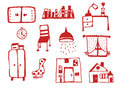 Furniture icons set funny design illustration Royalty Free Stock Photo