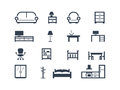 Furniture icons set of isolated on white Royalty Free Stock Photos