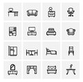 Furniture icons vector black set on gray Stock Image
