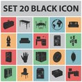 Furniture and interior black icons in set collection for design. Home furnishings vector isometric symbol stock web Royalty Free Stock Photo