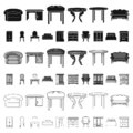 Furniture and interior cartoon icons in set collection for design.Home furniture vector symbol stock web illustration. Royalty Free Stock Photo
