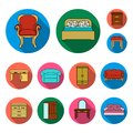 Furniture and interior flat icons in set collection for design.Home furniture vector symbol stock web illustration. Royalty Free Stock Photo