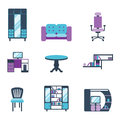 Furniture interior icons home design modern living room house comfortable apartment vector illustration