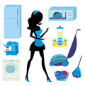 Furniture in the kitchen and cleaning set illustration Stock Image