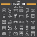 Furniture line icon set, interior sign collection