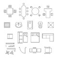 Furniture linear vector symbols. Floor plan icons