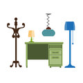 Furniture pieces living room lamp, hanger, chest of drawers vector flat icons