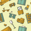 Furniture seamless pattern vector illustration Royalty Free Stock Photos