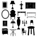Furniture set of designs in black color Royalty Free Stock Photo
