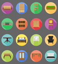 Furniture set flat icons vector illustration