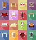 Furniture set flat icons vector illustration