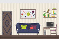 Furniture Set. Flat Vector Illustration for you Interior Design. Elevation with Door, Sofa, Table, Chair, Shelves and Royalty Free Stock Photo