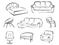 Furniture set isolated on white background for house interior design Royalty Free Stock Photos