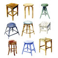 Furniture set the kitchen backless stools watercolor illustration Stock Image