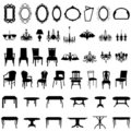 Furniture silhouette set Stock Photos