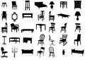 Furniture silhouette vector illustration set. Royalty Free Stock Image