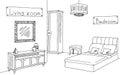 Furniture store shop graphic black white interior sketch illustration