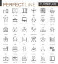 Furniture thin line web icons set. Outline stroke icon design.