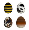 Furry easter eggs bee cow pony fox d render Royalty Free Stock Images