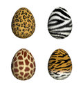 Furry easter eggs leopard zebra giraffe tiger d render Royalty Free Stock Photography