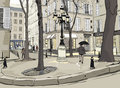 Furstemberg square in paris Royalty Free Stock Photography