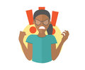 Fury evil black girl in glasses. Woman in rage, wrath, rampage. Flat design icon. Simply editable isolated vector illustration