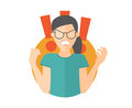 Fury girl in glasses. Woman in rage, wrath, rampage. Flat design icon. Simply editable isolated vector illustration