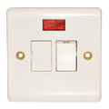 Fused wall switch fitting white with red light isolated on a white background Stock Image