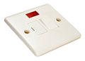 Fused wall switch fitting white with red light isolated on a white background Royalty Free Stock Photography