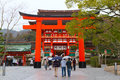 Fushimi inari shrine kyoto japan march a giant torii gate in front of the romon gate at s entrance on march in this is Stock Photo