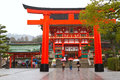 Fushimi inari shrine kyoto japan march a giant torii gate in front of the romon gate at s entrance on march in this is Royalty Free Stock Photography