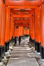 Fushimi inari taisha shrine kyoto prefecture japan famous shinto shrine thousands vermilion torii gates Stock Images