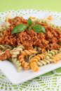 Fusilli bolognese Stock Photo