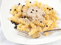 Fusilli and mushroom cream Royalty Free Stock Images