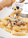 Fusilli and mushroom cream Stock Photography