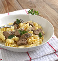 Fusilli pasto with chicken liver pasta Royalty Free Stock Photos