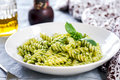 Fusilli in Pesto sauce Royalty Free Stock Photo
