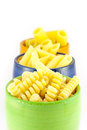 Fusilli, rigatoni and pens pasta Royalty Free Stock Image