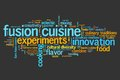 Fusion cuisine contemporary cooking concepts word cloud illustration word collage concept Royalty Free Stock Image