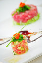 Fusion food salmon with detail Royalty Free Stock Image