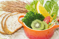 Fusion food vegetable salad in colorful cup with whole wheat bread Royalty Free Stock Photos