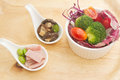 Fusion food vegetable salad ham and mushrooms Stock Image